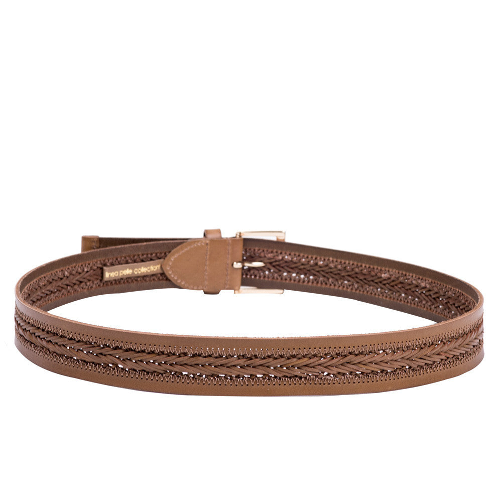 Linea Pelle Center Braid Belt in Olive