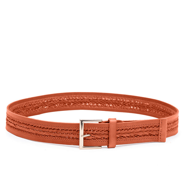 Linea Pelle Center Braid Belt in Tangerine