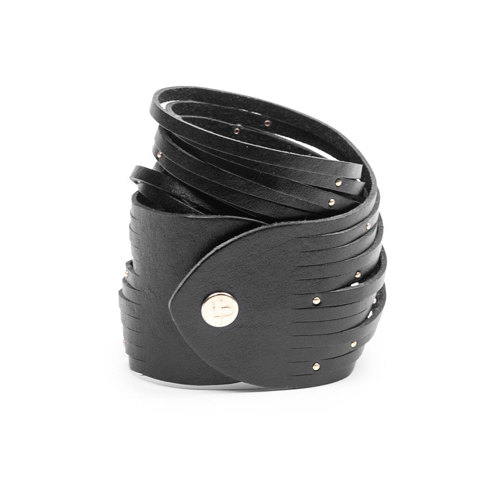 Linea Pelle Double Wrap Sliced Studded Bracelet in Black