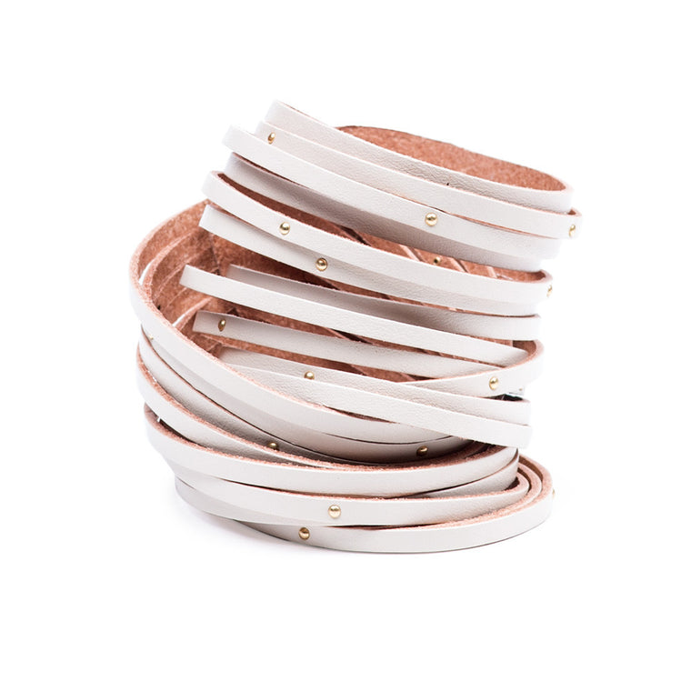 Linea Pelle Double Wrap Sliced Studded Bracelet in Bone