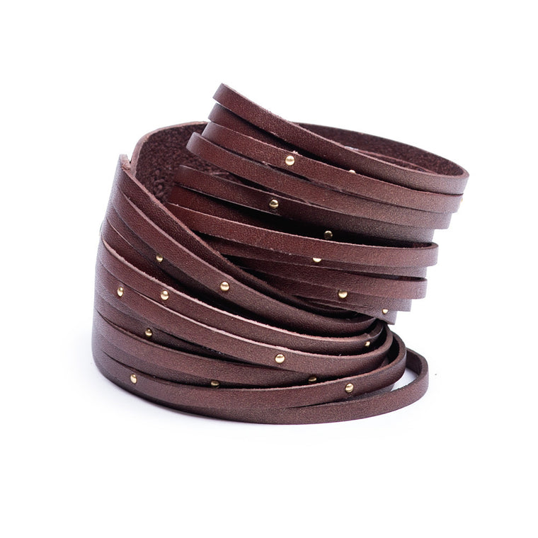 Linea Pelle Double Wrap Sliced Studded Bracelet in Chocolate