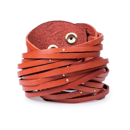 Linea Pelle Double Wrap Sliced Studded Bracelet in Pumpkin