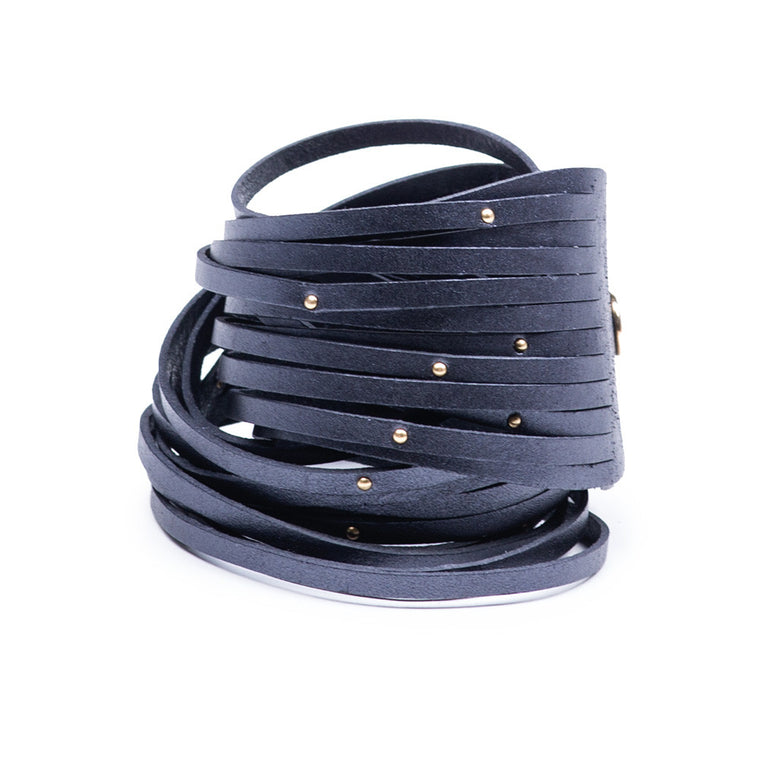 Linea Pelle Double Wrap Sliced Studded Bracelet in Slate