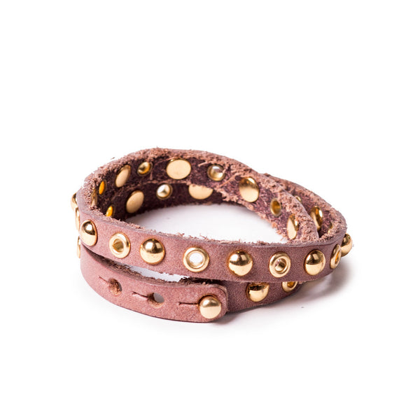 Linea Pelle Double Wrap Bracelet in Teak