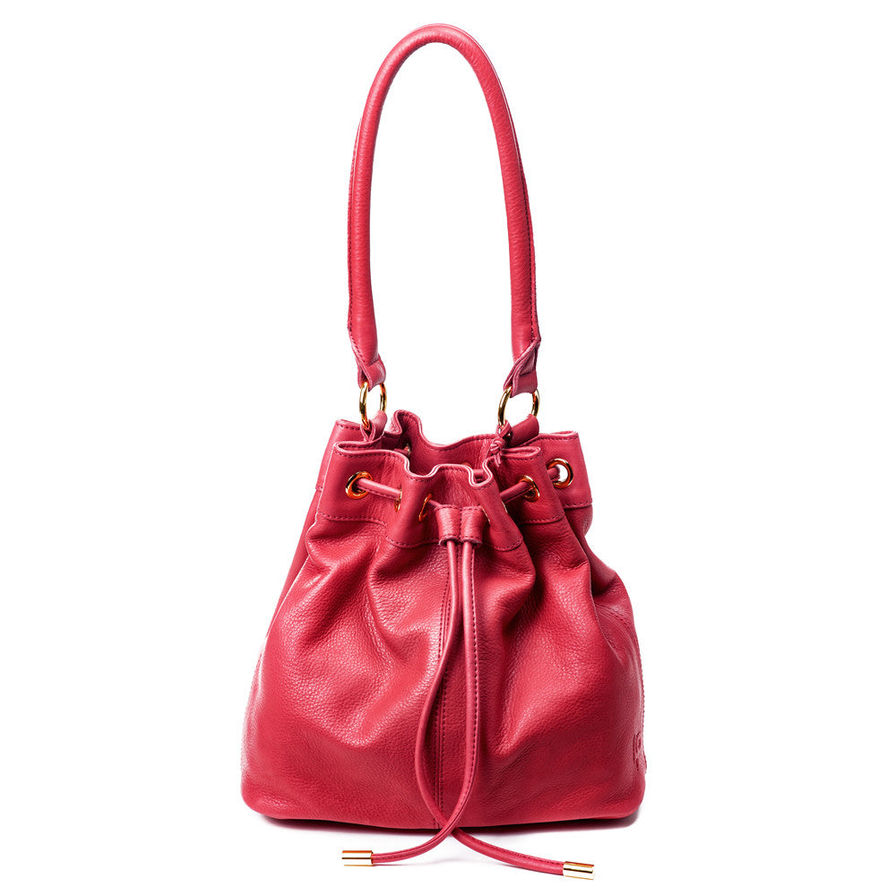 Linea Pelle Dylan Bucket Bag in Ruby