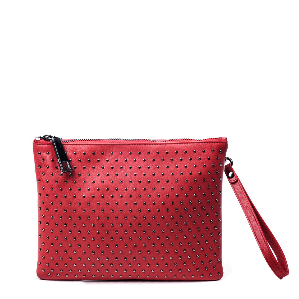 Linea Pelle Colette Stud Pouch in Red