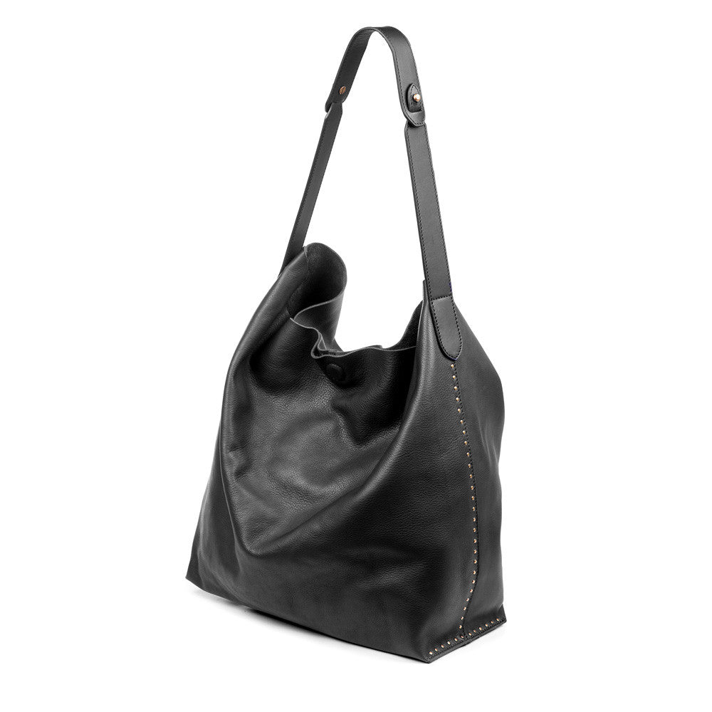 Linea Pelle Hunter Studded Hobo Bag in Black