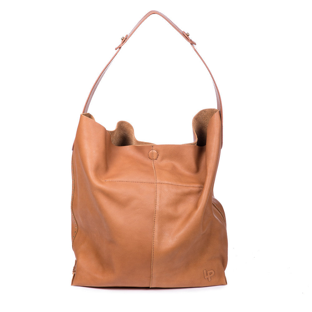 Linea Pelle Hunter Studded Hobo Bag in Cognac
