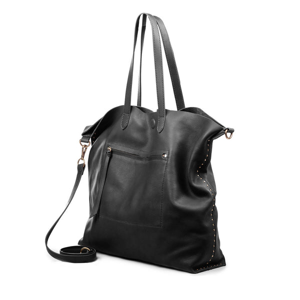 Linea Pelle Hunter Studded Tote in Black