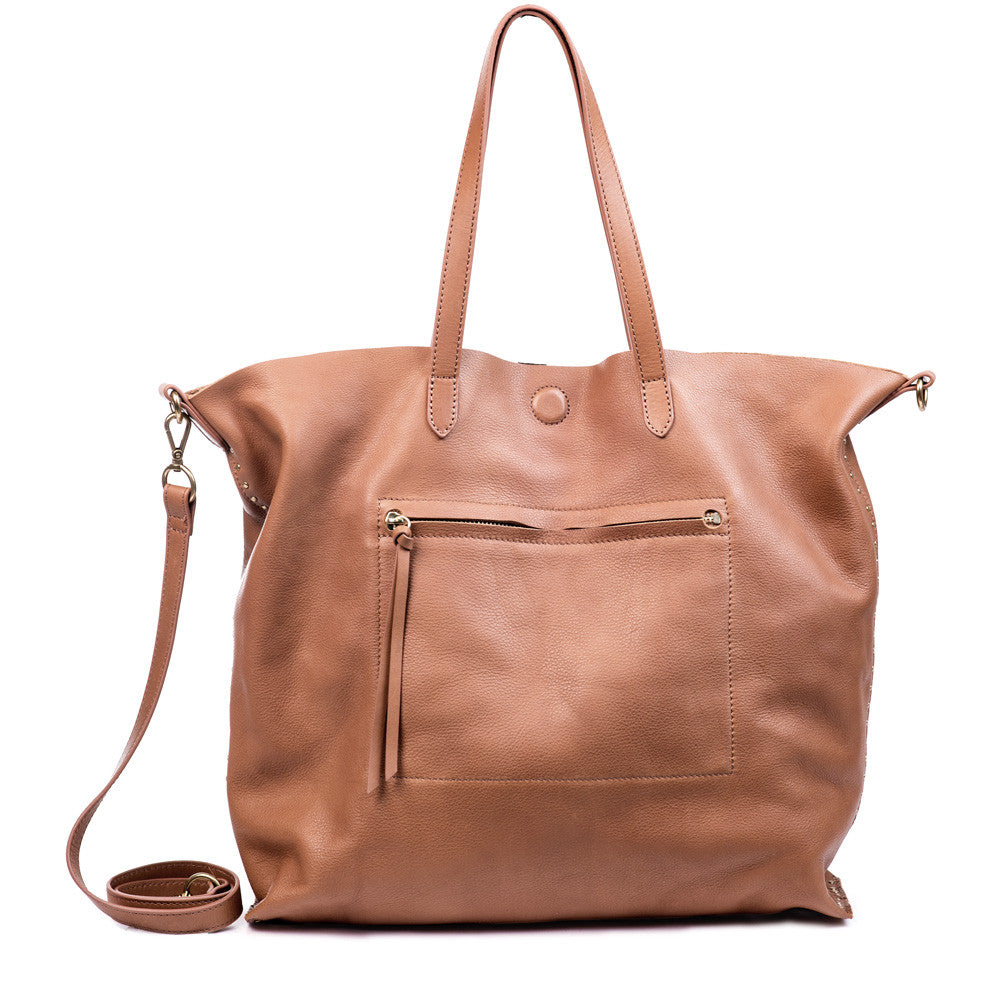 Linea Pelle Hunter Studded Tote in Cognac
