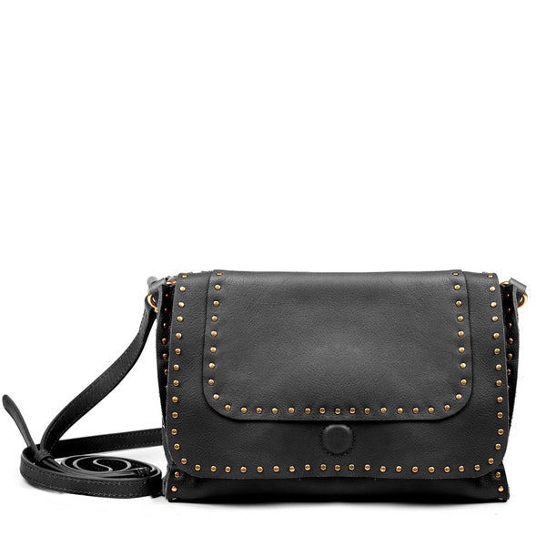 Linea Pelle Hunter Studded Crossbody Bag in Black