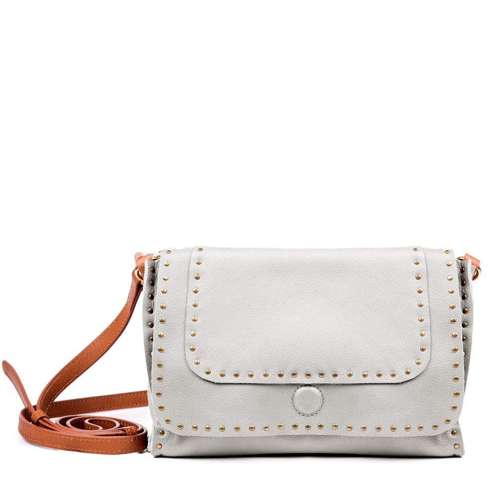 Linea Pelle Hunter Studded Crossbody Bag in Bone