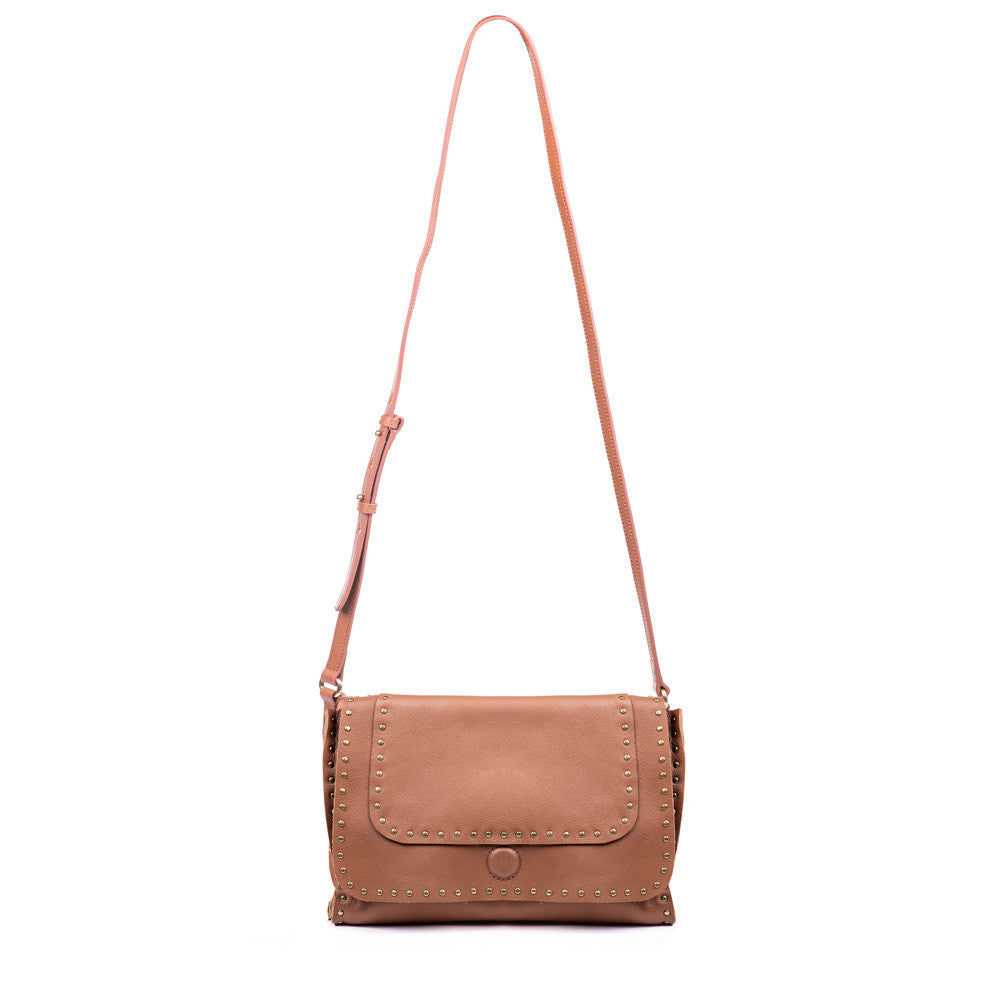 Linea Pelle Hunter Studded Crossbody Bag in Cognac
