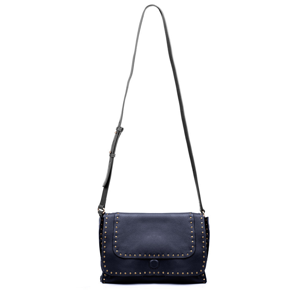 Linea Pelle Hunter Studded Crossbody Bag in Navy