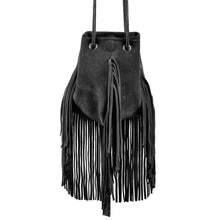 Load image into Gallery viewer, Linea Pelle Stevie Petite Fringe Crossbody in Black