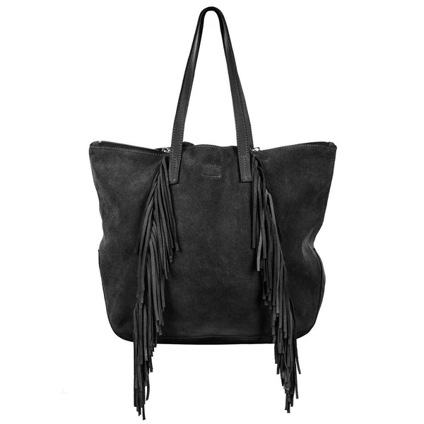 Linea Pelle Stevie Fringe Tote in Black