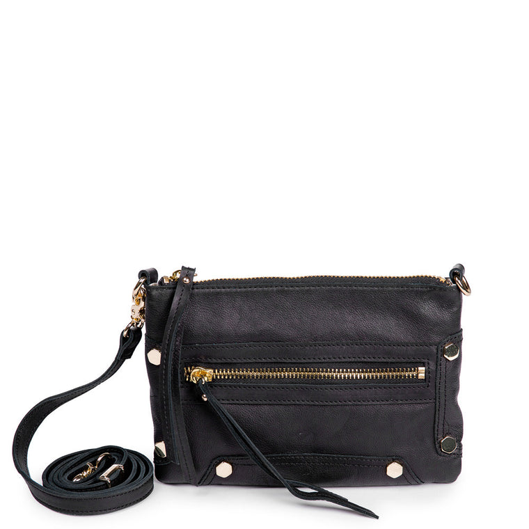 Linea Pelle Walker Crossbody Bag in Washed Black