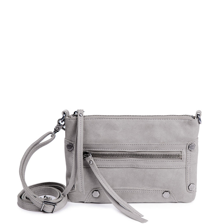 Linea Pelle Walker Crossbody Bag in Washed Grey