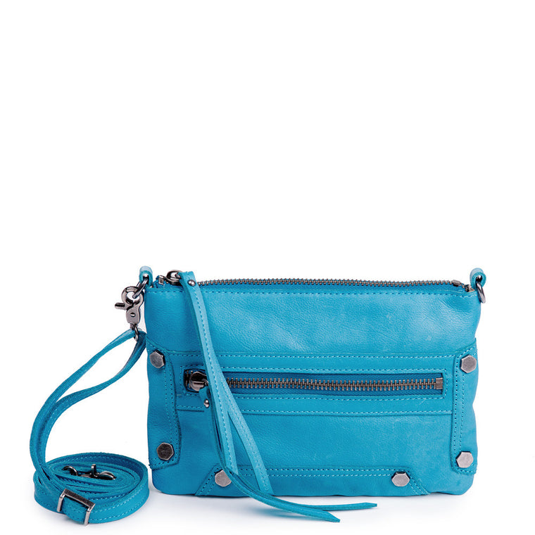 Linea Pelle Walker Crossbody Bag in Washed Turquoise