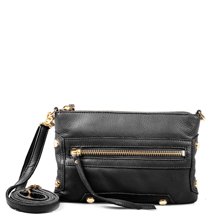 Linea Pelle Walker Crossbody Bag in Black