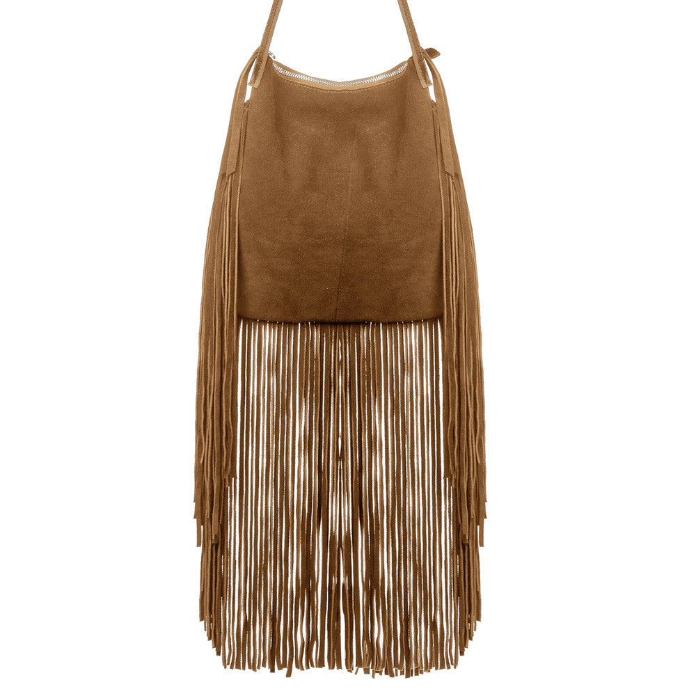Linea Pelle Stevie Fringe Crossbody Bag in Cognac