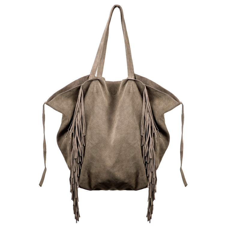 Linea Pelle Sybil Fringe Tote in Light Olive