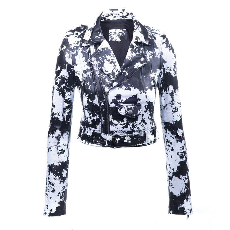 Linea Pelle Printed Moto Crop Leather Jacket in Print