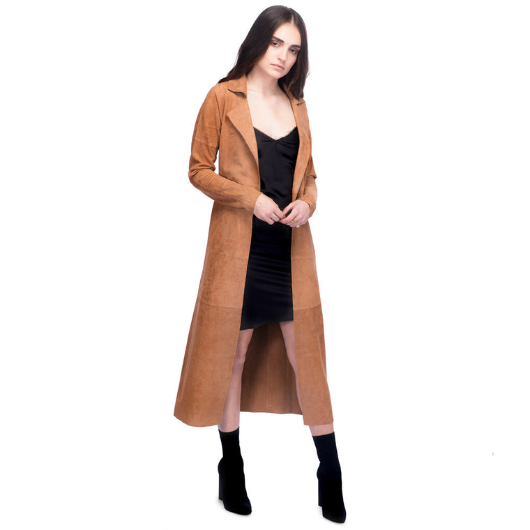Long Suede Trench