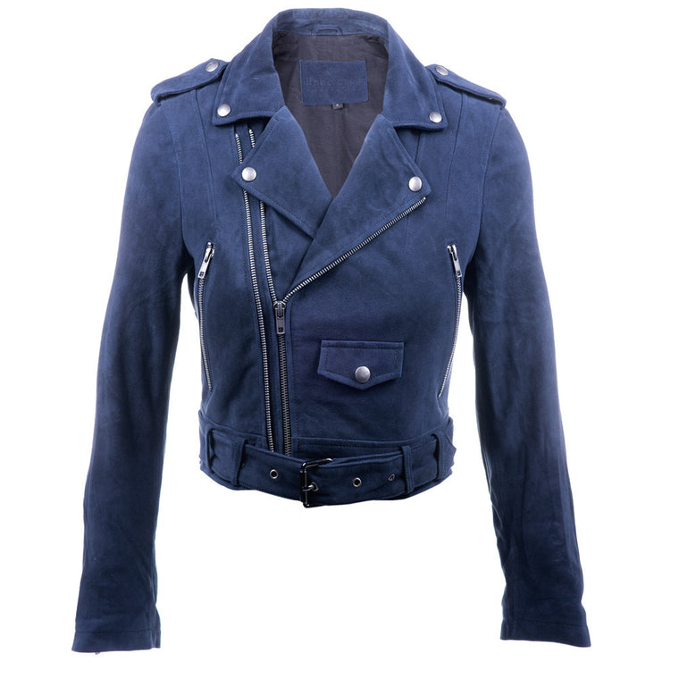 Linea Pelle Moto Crop Suede Jacket in Navy