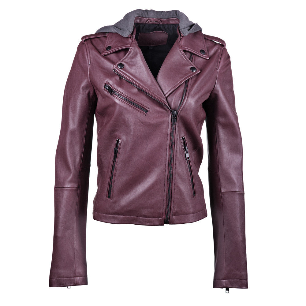 Linea Pelle Washed Hooded Leather Jacket in Crimson