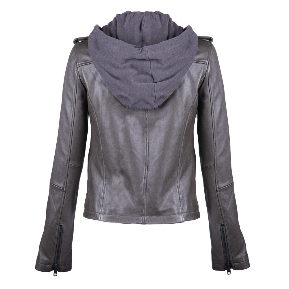 Linea Pelle Washed Hooded Leather Jacket in Olive