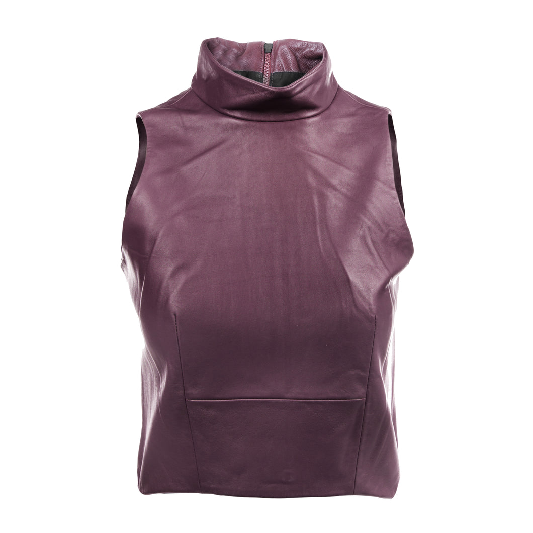 The Leather Mock Neck | Burgundy