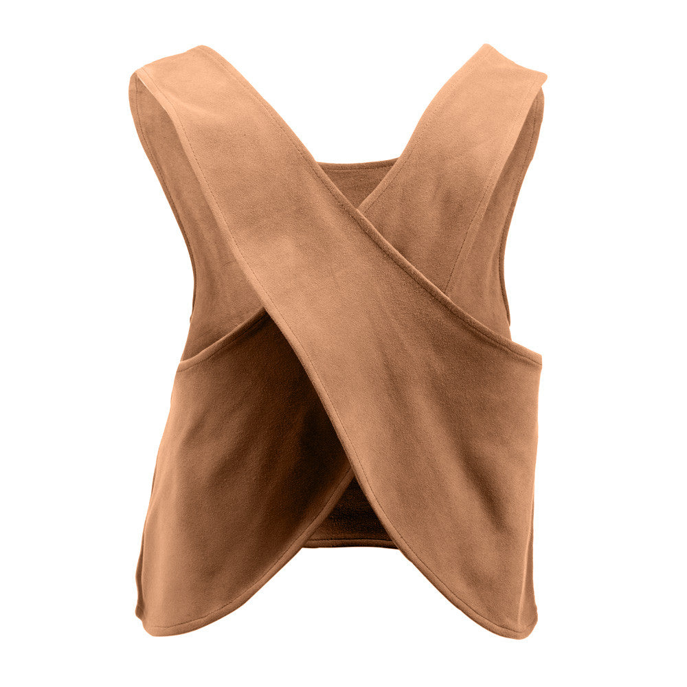 Linea Pelle Criss Cross Suede Top in Camel