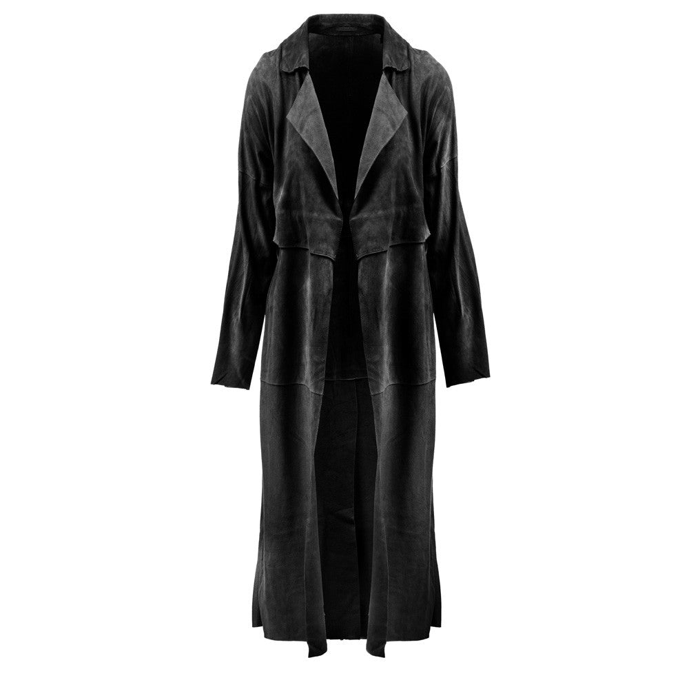Linea Pelle Classic Suede Trench in Black