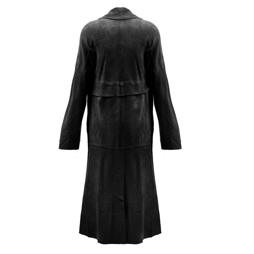 Linea Pelle Classic Suede Trench Coat in Black