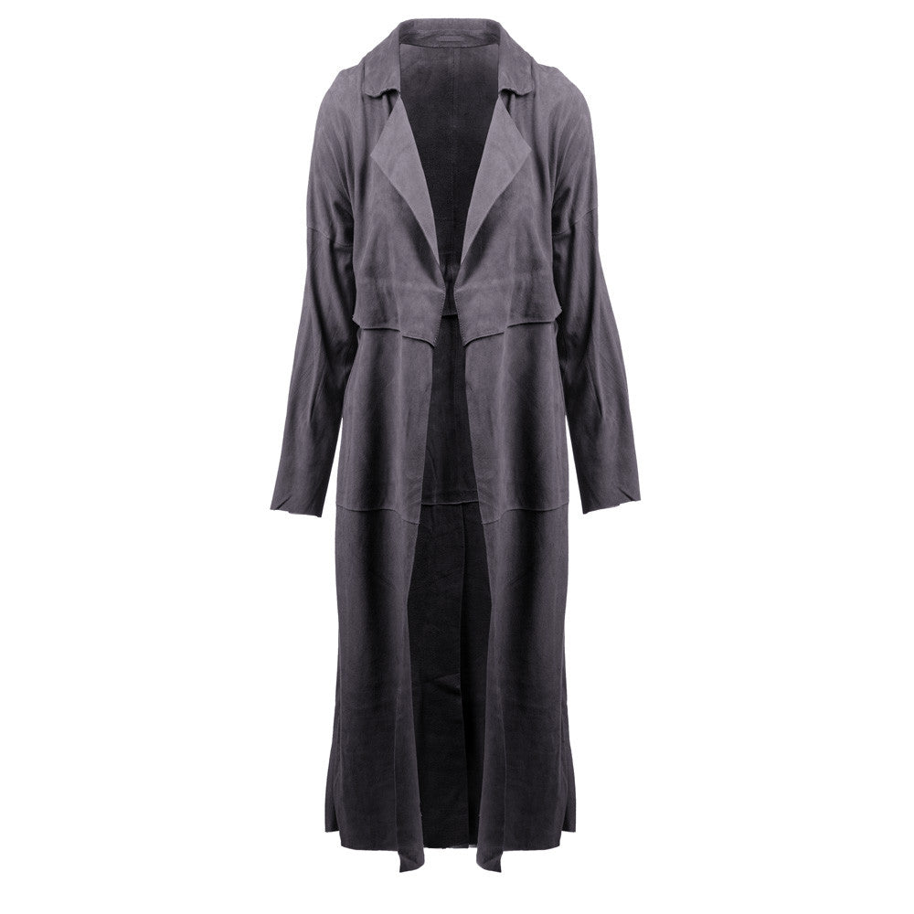 Linea Pelle Classic Suede Trench in Grey