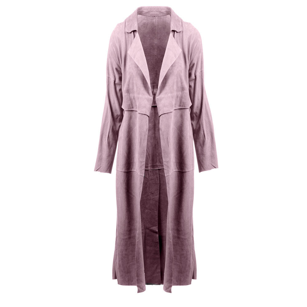 Linea Pelle Classic Suede Trench Coat in Mauve