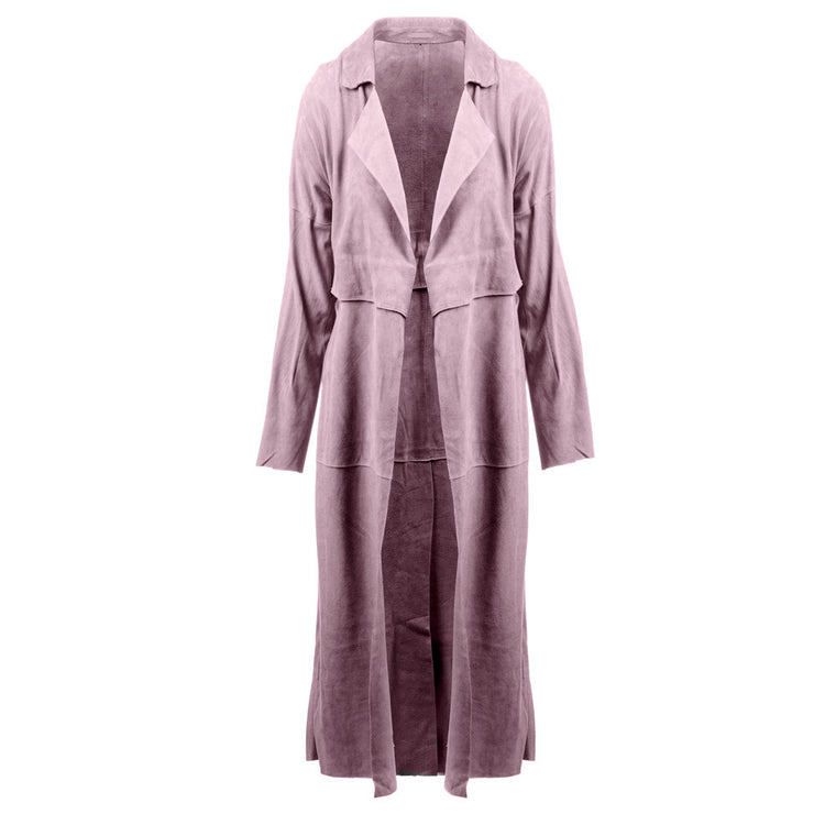 Classic Suede Trench Coat in Mauve