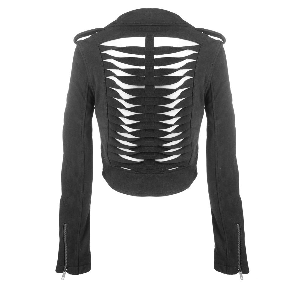 Linea Pelle Sliced Crop Moto Jacket in Black Suede