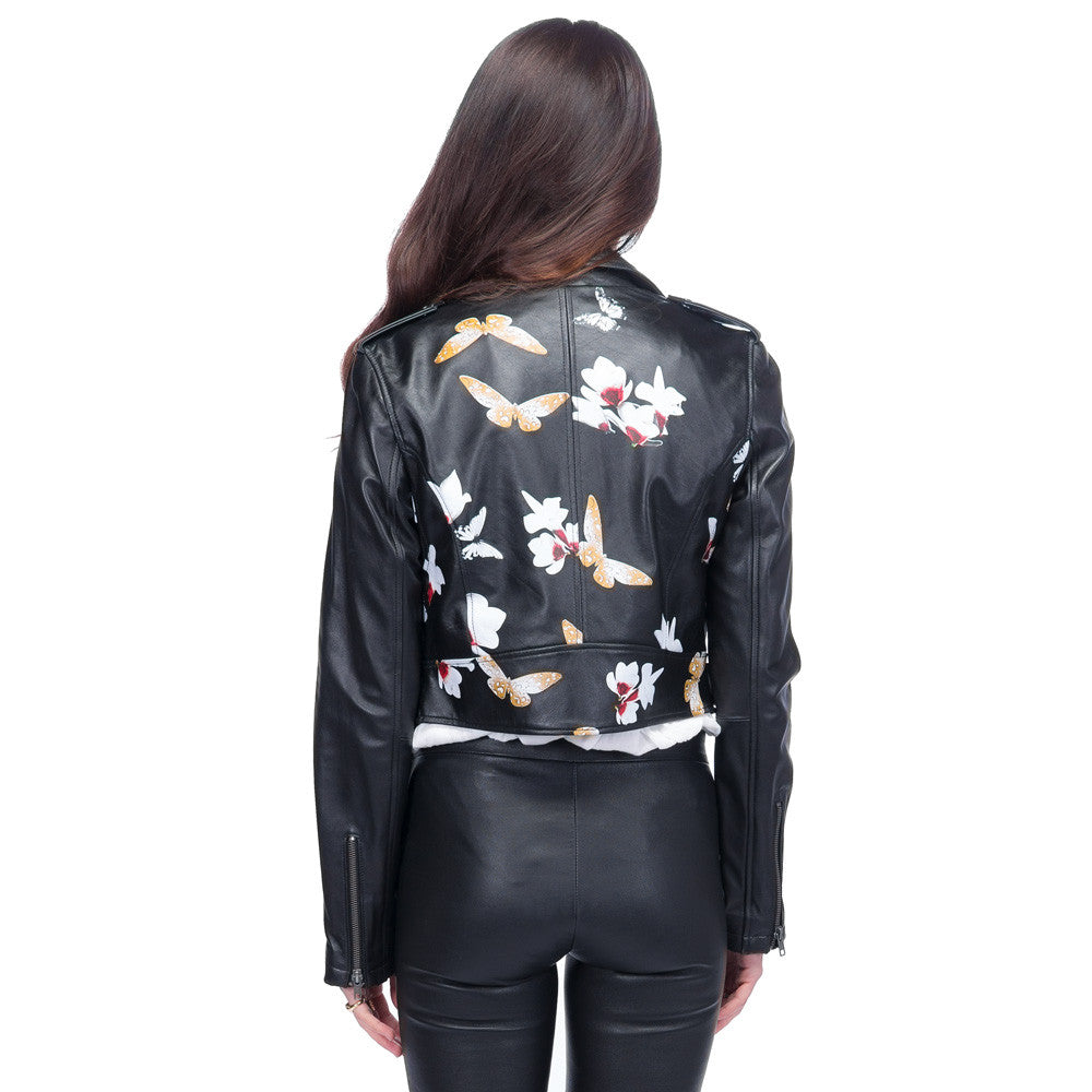 Butterfly Print Crop Leather Jacket