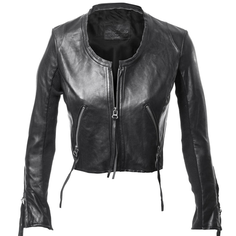 Linea Pelle Looker Crop Leather Jacket in Black