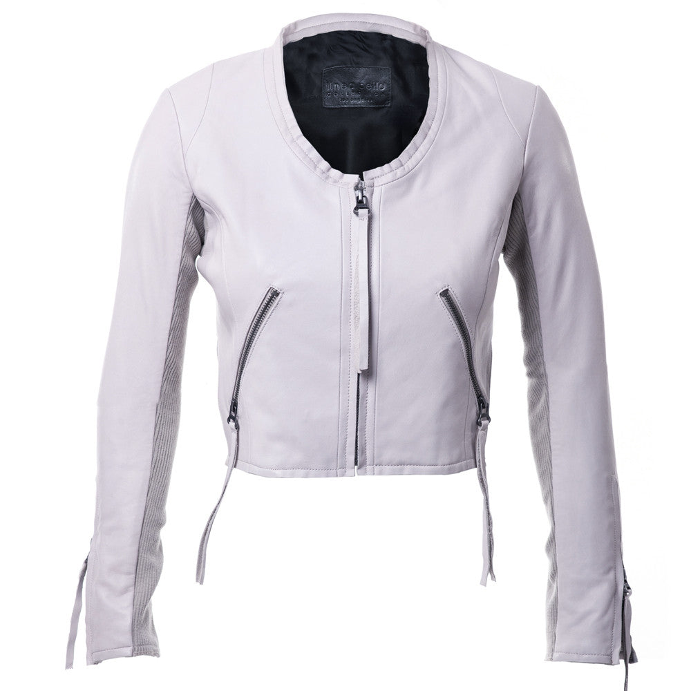 Linea Pelle Looker Crop Leather Jacket in Stone