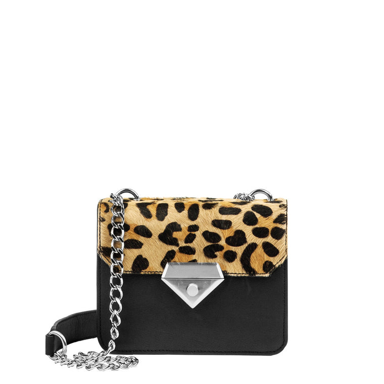Linea Pelle Bowery Shoulder Bag in Haircalf and Black