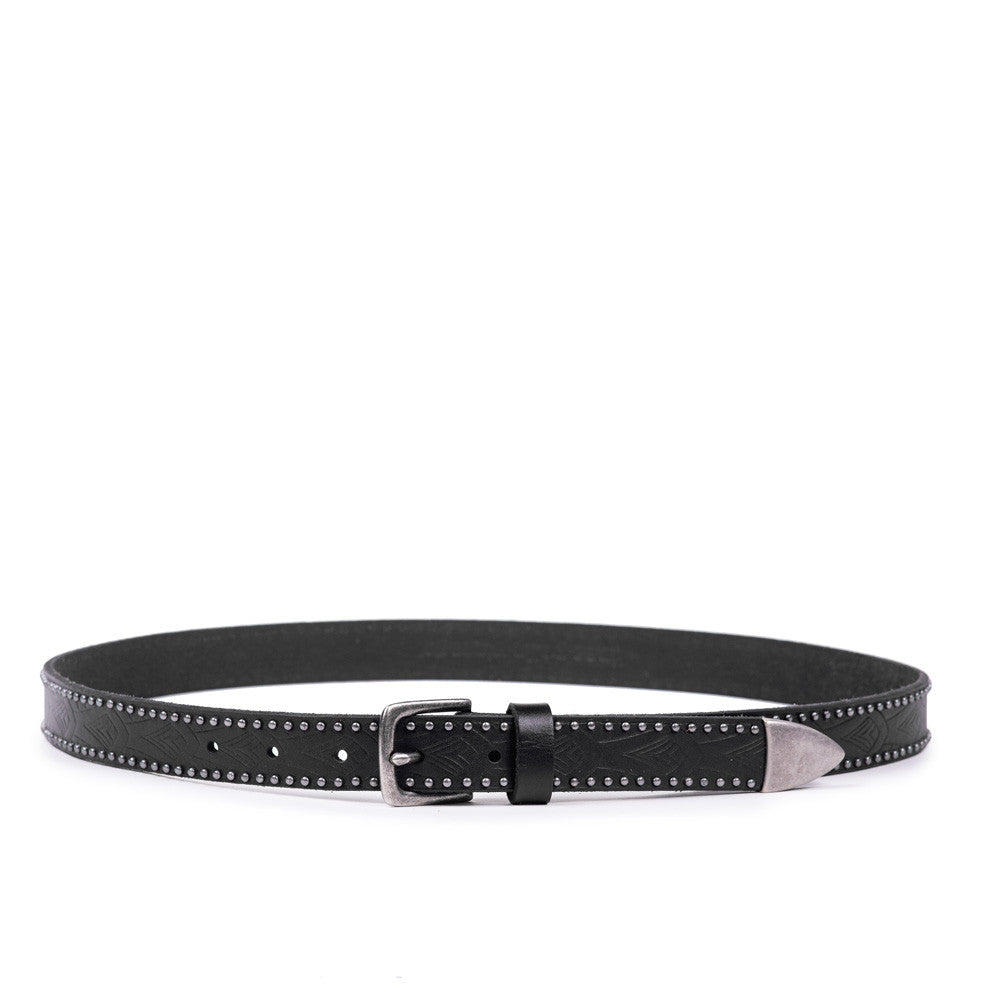 Linea Pelle Embossed Stud Hip Belt in Black