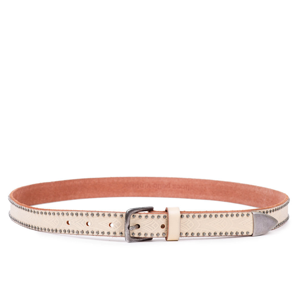 Linea Pelle Embossed Stud Hip Belt in Milk