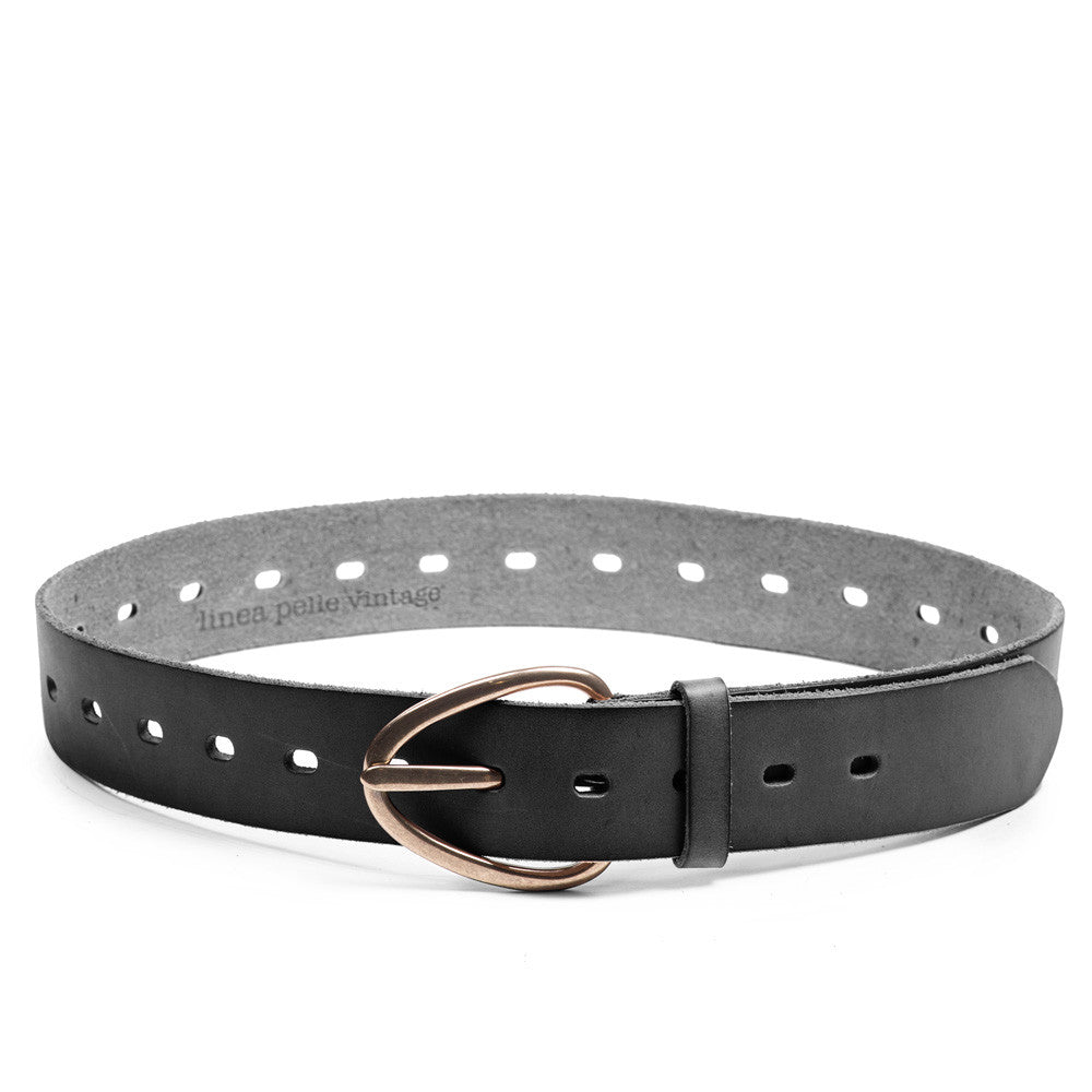 Linea Pelle Perry Perforated Belt in Black