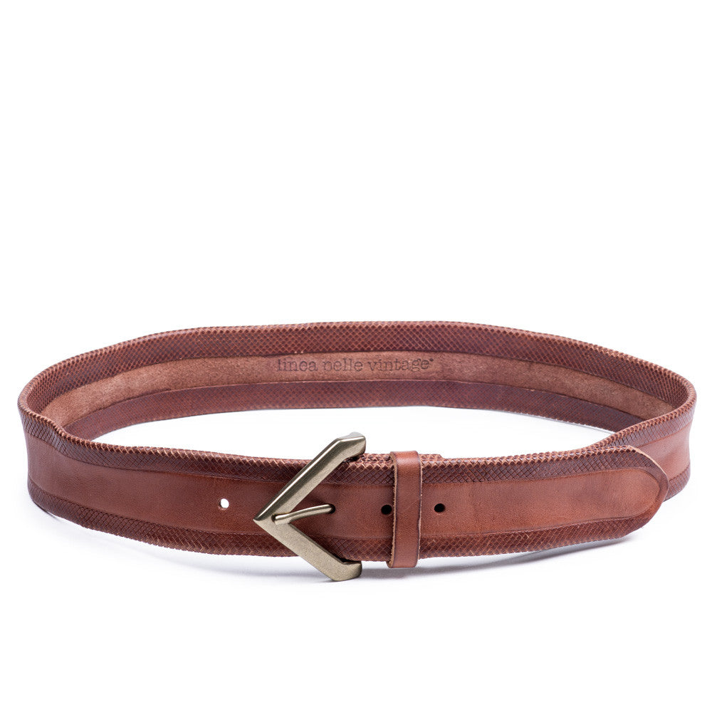 Linea Pelle Crosshatch Hip Belt in New Cognac