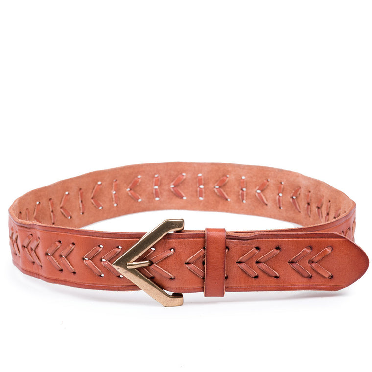 Linea Pelle Chevron Laced Belt in Cognac