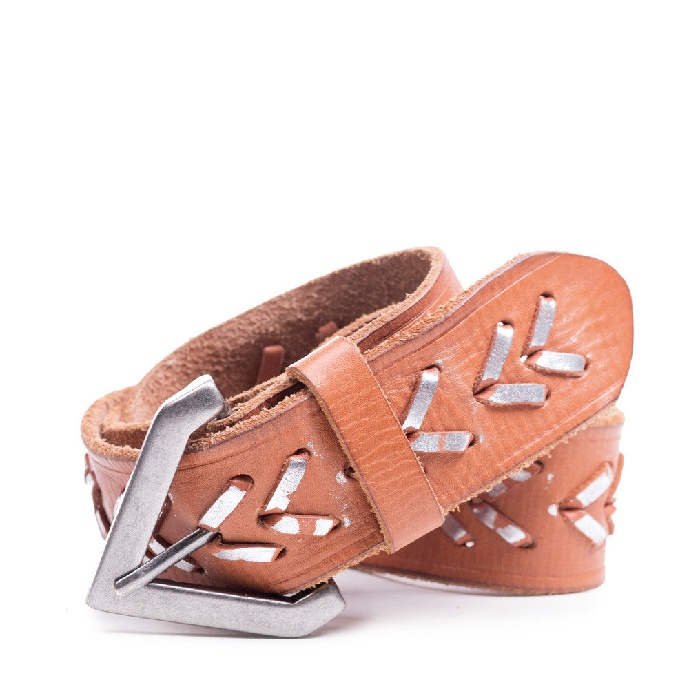 Linea Pelle Chevron Laced Belt in Natural/Silver