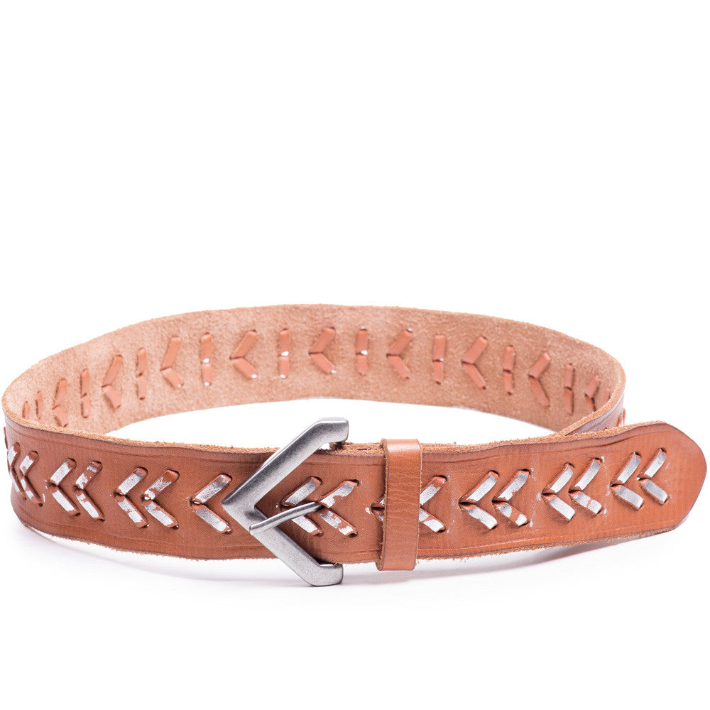 Linea Pelle Chevron Laced Belt in Natural Silver